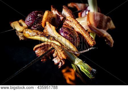 Smoked Meat. Roast Bacon With Vegetables. Fried Pork. Barbecue And Bbq. Kitchen And Grill. Rustic Ga