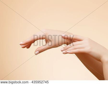 Closeup Image Of Beautiful Womans Hands With Light Pink Manicure On The Nails. Skin Care For Hands,