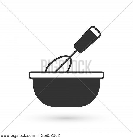 Grey Cooking Whisk With Bowl Icon Isolated On White Background. Cooking Utensil, Egg Beater. Cutlery
