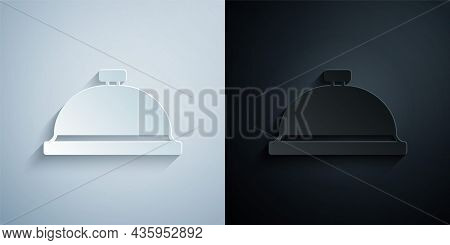 Paper Cut Covered With A Tray Of Food Icon Isolated On Grey And Black Background. Tray And Lid Sign.