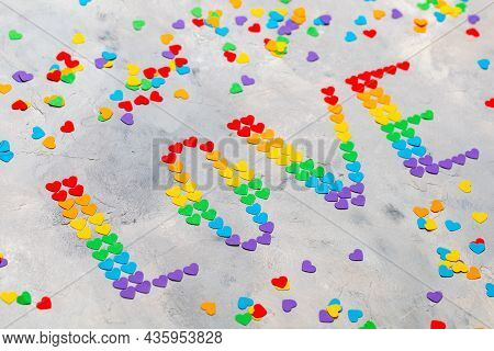 The Word Love Made Of Small Hearts In The Colors Of The Flag Of The Lgbt Community