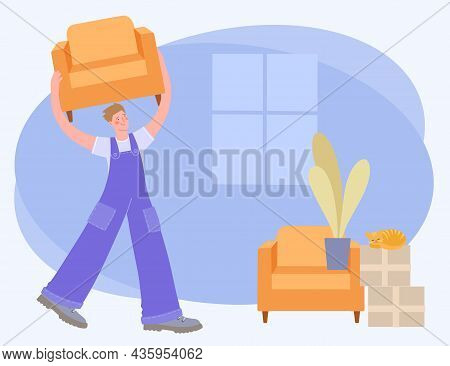 Moving To A New House. Male Loader In Uniform Carries A Chair. Worker Transport Furniture From Old A