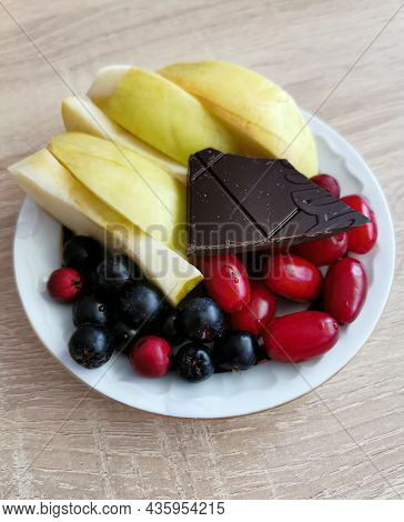 Colorful Berries And A Piece Of Dark Chocolate Are The Best Antioxidants For Your Mind And Body. Foc