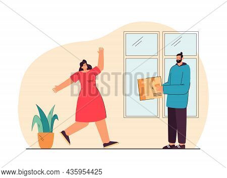 Postman Or Deliveryman Giving Parcel To Woman Who In A Hurry To Receive It. Courier Delivering Order