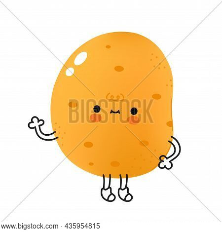 Cute Happy Smiling Potato. Isolated On White Background. Vector Cartoon Character Illustration Desig