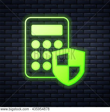 Glowing Neon Security System Control Panel With Display Icon Isolated On Brick Wall Background. Keyp
