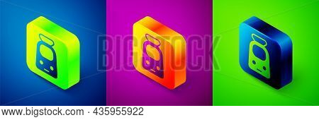 Isometric Train And Railway Icon Isolated On Blue, Purple And Green Background. Public Transportatio
