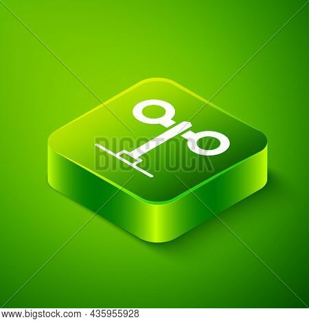 Isometric Train Traffic Light Icon Isolated On Green Background. Traffic Lights For The Railway To R