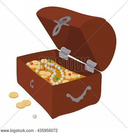 Hand-drawn Pirate Treasure Chest. Vector Illustration In Doodle Style.