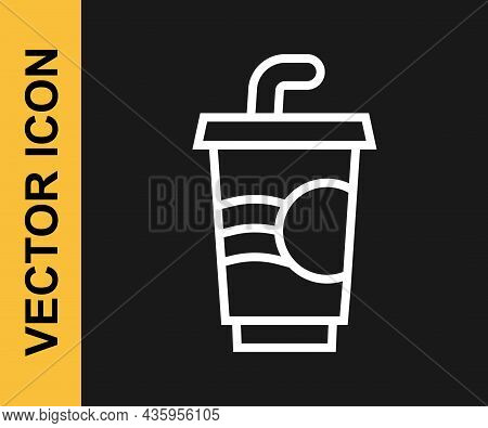 White Line Paper Glass With Drinking Straw And Water Icon Isolated On Black Background. Soda Drink G