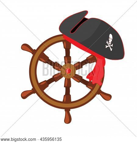 Hand-drawn Steering Wheel And Pirate Hat. Vector Illustration In Doodle Style.