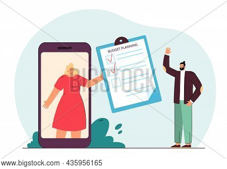 Businesswoman On Phone Screen Showing Budget Plan To Man. Business Characters Discussing Financial P