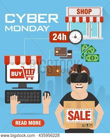 Cyber Monday Sale Concept Flat Design. Cyber Monday Promotion Poster, Flyer, Banner, Website. Vector