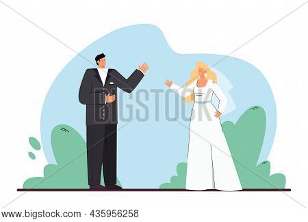 Cartoon Bride And Groom Getting Married. Man In Tuxedo And Woman In Wedding Dress Flat Vector Illust