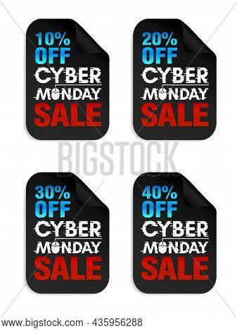 Set Of Cyber Monday Sale Stickers. Cyber Monday Sale 10%, 20%, 30%, 40% Off. Vector Illustration