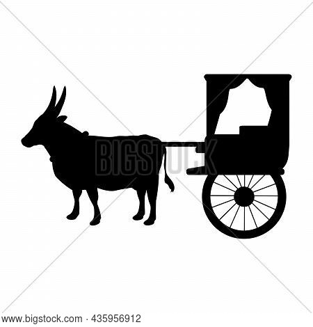 Silhouette Oxen Pulling Cart. Traditional Transportation. Illustration Symbol Icon