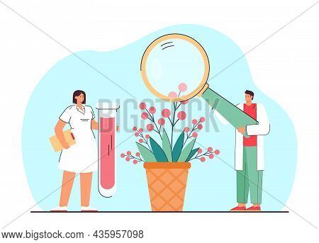 Tiny Cartoon Scientists Conducting Scientific Research. Male And Female Doctors Examining Plant With
