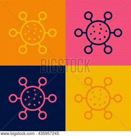 Pop Art Line Bacteria Icon Isolated On Color Background. Bacteria And Germs, Microorganism Disease C