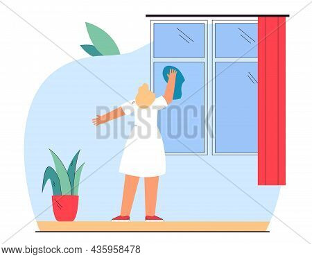 Housewife Washing Window With Rag. Blond Woman Cleaning House Flat Vector Illustration. Household Ch
