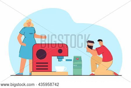 Young Man Giving Coffee Cup To His Wife. Couple Making Cappuccino Using Coffee Machine Flat Vector I