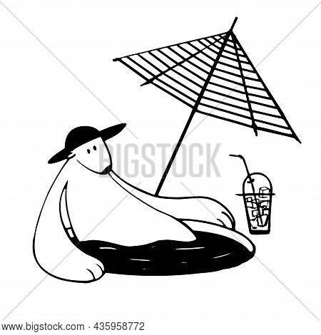 Cute Polar Bear Having Sun Bath, Vector Clipart, Funny Animal Illustration Good For Card And Print D