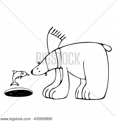 Cute Polar Bear And Angry Fish, Vector Clipart, Funny Animal Illustration Good For Card And Print De