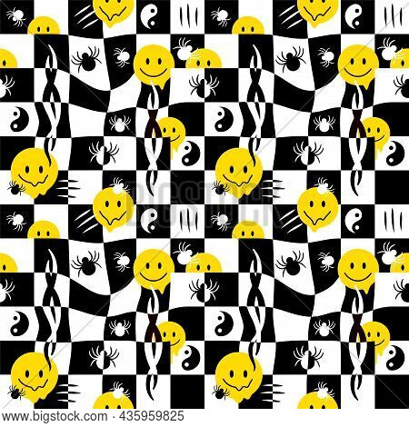 Funny Melt Smile Faces, Spider Seamless Pattern.vector Hand Drawn Doodle Cartoon Character Illustrat
