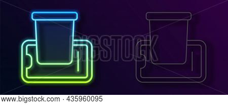 Glowing Neon Line Food Ordering On Mobile Icon Isolated On Black Background. Order By Mobile Phone.