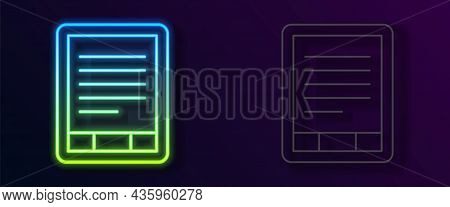 Glowing Neon Line E-book Reader Icon Isolated On Black Background. Vector