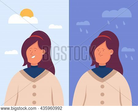 Split Portrait Of Hispanic Woman In Depression And In Good Mood. Bipolar Disorder, Happy Smiling And