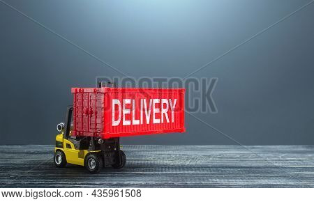 Forklift With Container Delivery. World Trade. Deliver Logistic Chains, Supply Of Components And Raw