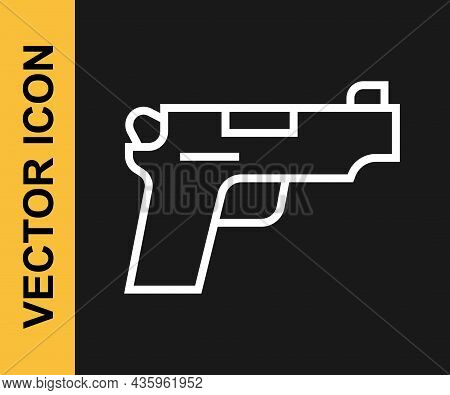White Line Pistol Or Gun Icon Isolated On Black Background. Police Or Military Handgun. Small Firear