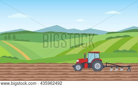 Tractor Plowing The Field On Rural Landscape Background. Agriculture Concept. Vector Illustration.