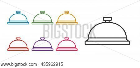 Set Line Covered With A Tray Of Food Icon Isolated On White Background. Tray And Lid Sign. Restauran