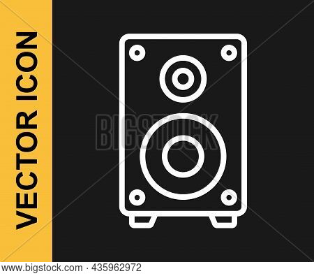 White Line Stereo Speaker Icon Isolated On Black Background. Sound System Speakers. Music Icon. Musi