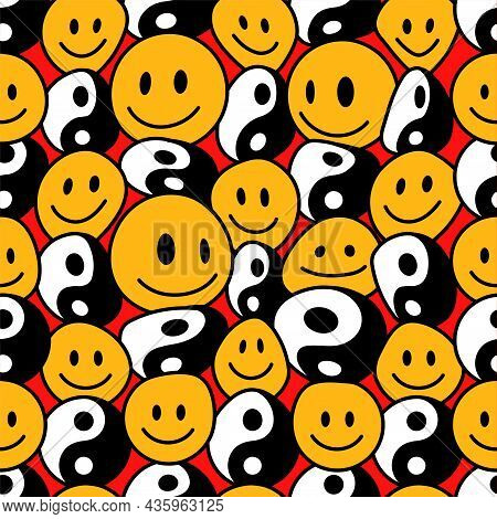 Psychedelic Deformed Wavy Smile Face And Yin Yang Seamless Pattern. Vector Hand Drawn Line Doodle Ca