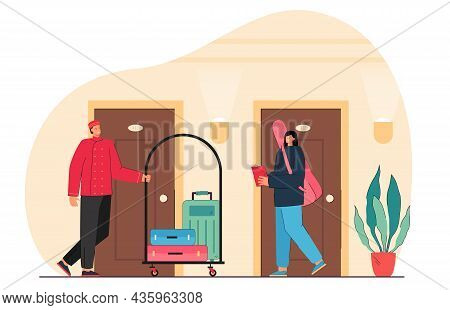 Bellboy In Retro Hotel Uniform Carrying Guest Baggage On Cart. Bellman Character Helping Woman With