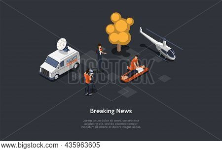 Breaking News Concept Illustration. Isometric Vector Composition, Cartoon 3d Style. Dark Background,