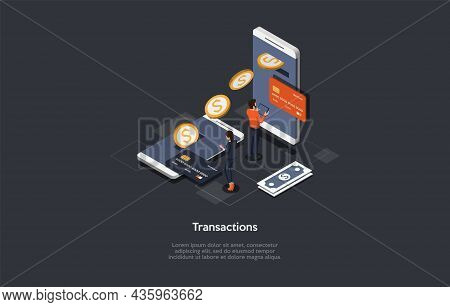 Vector Illustration Cartoon 3d Style. Isometric Composition. Conceptual Design. Financial Transactio