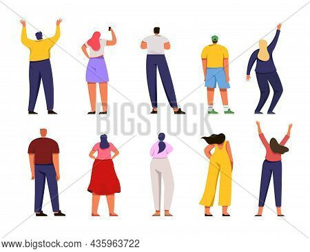 Back View Of Different People Vector Illustration Set. Men And Women Standing, Watching, Waving Hand