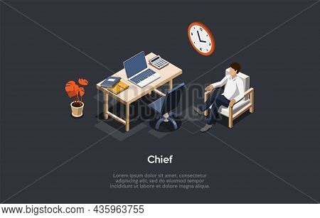 Isometric Composition, Vector Design. 3d Cartoon Style Illustration With Writing On Company Chief Co