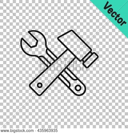 Black Line Crossed Hammer And Wrench Spanner Icon Isolated On Transparent Background. Hardware Tools