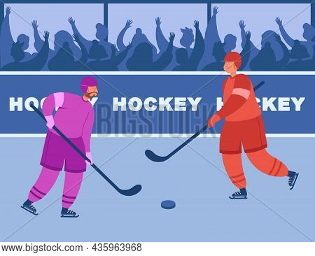 Two Hockey Players Of Different Teams Fighting For Puck. Ice Hockey Championship With Spectators Fre