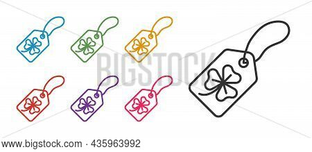 Set Line Clover Trefoil Leaf With Tag Icon Isolated On White Background. Happy Saint Patricks Day. N