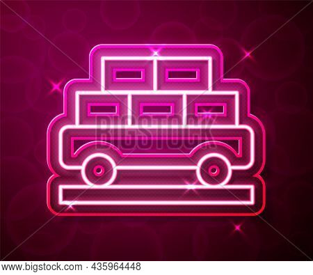 Glowing Neon Line Cargo Train Wagon Icon Isolated On Red Background. Full Freight Car. Railroad Tran