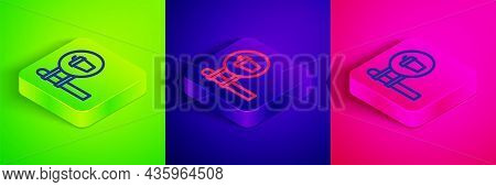 Isometric Line Cafe And Restaurant Location Icon Isolated On Green, Blue And Pink Background. Fork A
