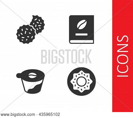 Set Donut, Cookie Or Biscuit, Pour Over Coffee Maker And Coffee Book Icon. Vector