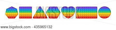 Popit Vector Toy, Rainbow Push Bubbles, Fidget Set, Sensory Game. Antistress Finger Gadget. Colorful