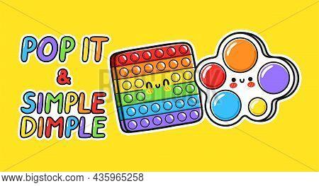Cute Funny Pop It And Simple Dimple Sensory Toy Logo Design. Vector Hand Drawn Cartoon Kawaii Charac
