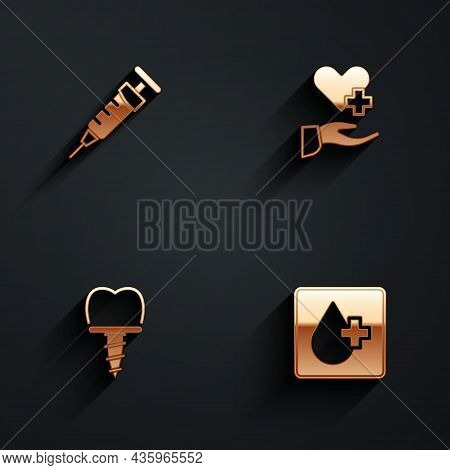 Set Syringe, Heart With Cross, Dental Implant And Blood Test Icon With Long Shadow. Vector